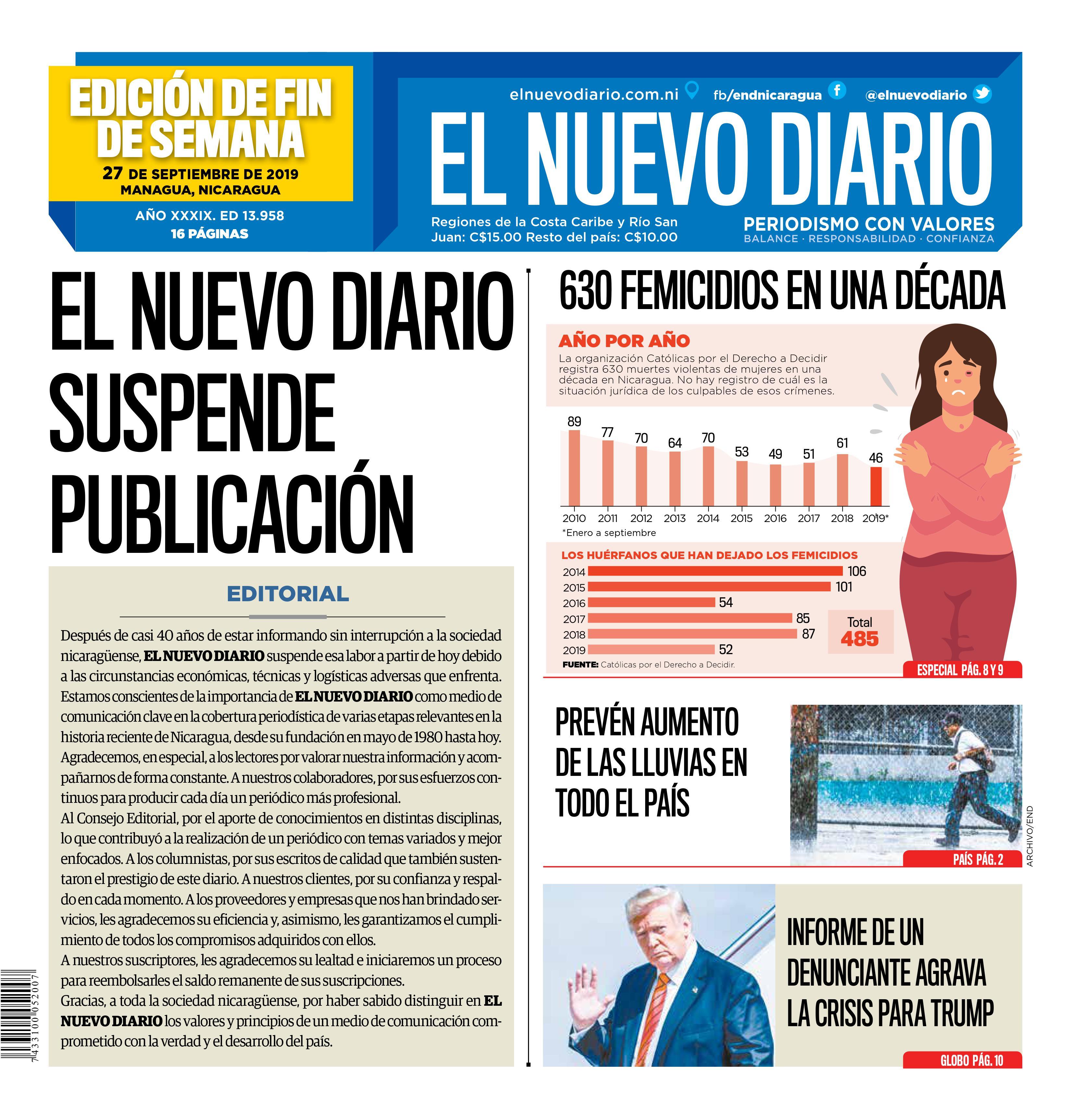 El Nuevo Diario publicó un editorial confirmando la suspensión de sus publicaciones y agradeciendo a sus lectores. Cortesía: El Nuevo Diario