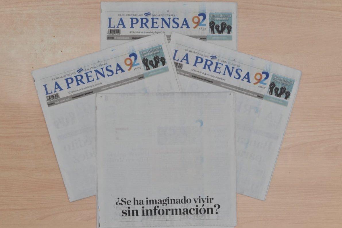 El diario La Prensa denunció que, por las presiones de Aduanas durante el gobierno de Daniel Ortega, se podían quedar sin papel. Crédito: Tomado de las redes sociales